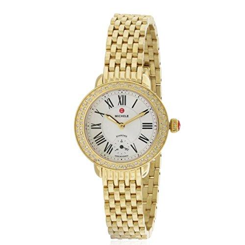 MICHELE WOMEN'S GOLD TONE STEEL BRACELET & CASE QUARTZ WATCH MWW21E000013