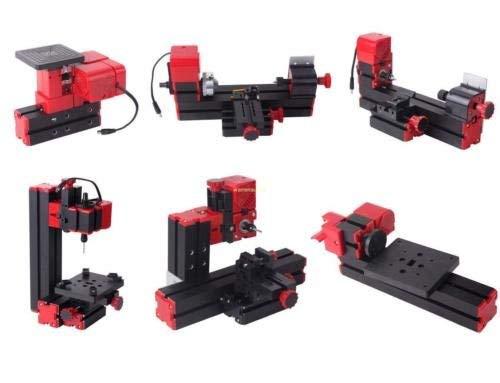 Ridgeyard 6 in 1 Mini Drehmaschine Drehbank Metalldrehbank Metalldrehmaschine DIY-Stichsäge -