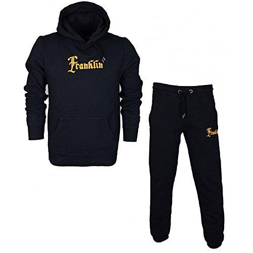 Franklin-Marshall-MF304-Hooded-Neck-Tuta-Fleece-Black-Tracksuit