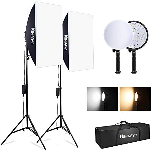 2700W Softbox Dauerlicht Fotostudio Set, Heorryn Softbox Studioleuchten mit 2m verstellbarem Ständer 3200-5500K LED und Tragetasche für...