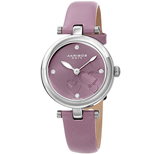 Akribos XXIV Women's Diamond Accented Heart Engraved Dial Lavendar Leather Strap Watch - Packed in a Beautiful Gift Box, Perfect for Mothers Day- AK1044LV