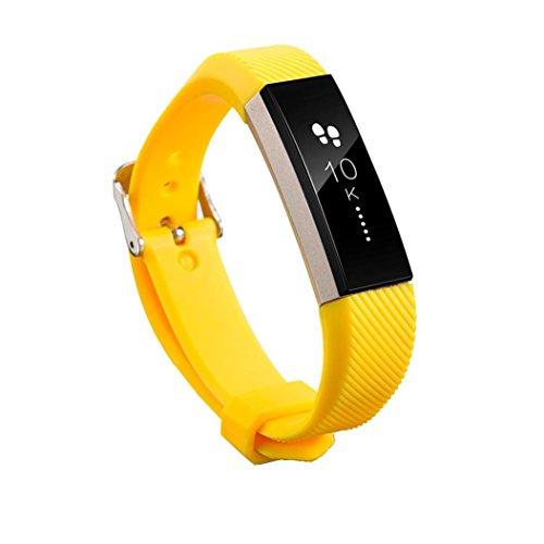 Ansenesna Armband Silikon Einstellen Uhrenarmband für Fitbit Alta HR Sportuhr Smartwatch Gps Test (Gelb)