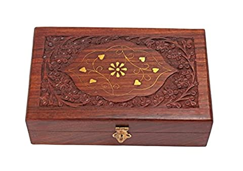 Handmade Rectangle (Brown) Decorative Jewellery Keepsake Storage Box With Brass Inlay & Floral Carvings