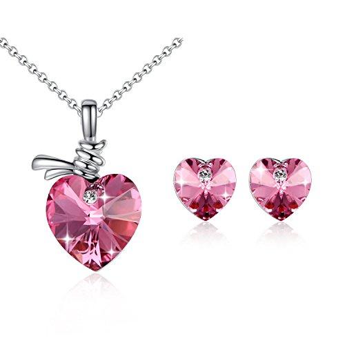 GoSparking cristallo rosa 18K oro bianco placcato cuore della lega orecchini e pendente di Set (Cuore Rosa Orecchini)