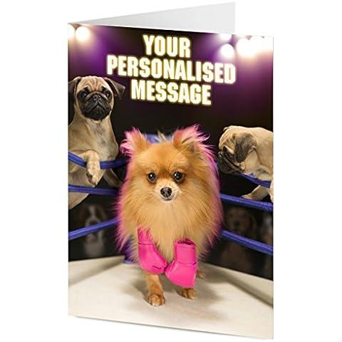 Personalised Pomerania cane e Pugs in un anello di Pugilato generale, festa della mamma, compleanno, Regalo