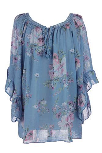 Floral Print Kaftan (TEXTURE Ladies Womens Italian Lagenlook Frill Sleeves Crochet Tie Floral Print Cotton Kaftan Top Blouse One Size (Cornflower Blue, One Size))