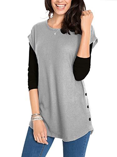 Fleasee Damen T-Shirt Ärmellos Shirt Jersey-Pullover Groß Rundhals Bluse Lässig Oberteile Tops