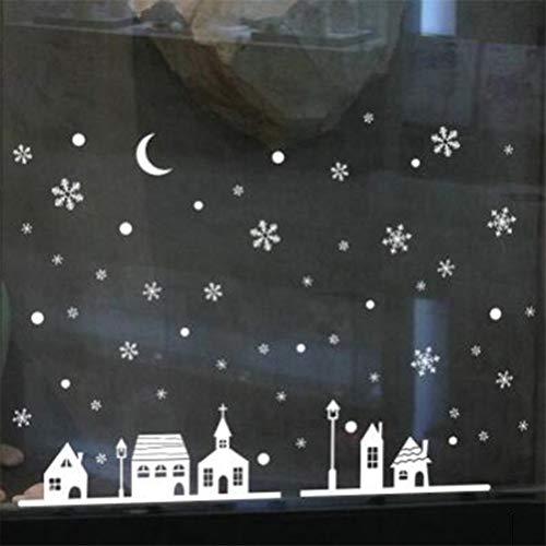 LGJJJ Schneeflocken Weihnachten Fenster Dekorationen Party Supplie Einkaufszentrum Festival Dress Up Weihnachten Fenster Aufkleber Aufkleber