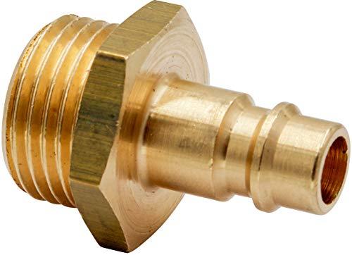 """Stecknippel Druckluftkupplung Kupplungsstecker Außengewinde 1/2\"""" Messing blank NW 7,2 AG 1/2 Zoll"""