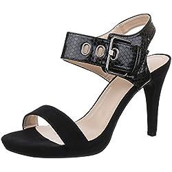 Damen Schuhe, 1129-GL, SANDALETTEN, PUMPS HIGH HEELS, Synthetik in hochwertiger Wildlederoptik und Lacklederoptik, Schwarz, Gr 41