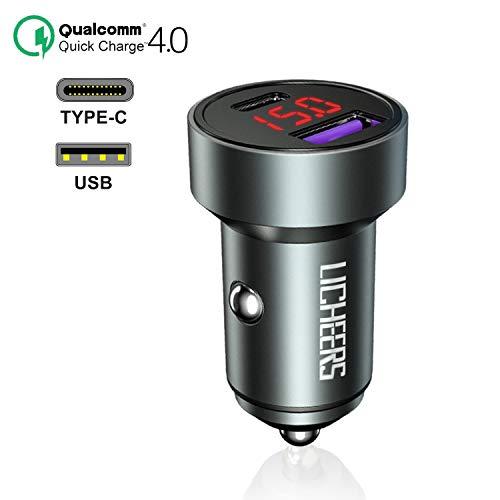 FEIGO Quick Charge 4.0 Caricabatteria Auto USB, 5A / 36W Mini Caricatore Adattatore Universale USB & Type C con LED, Carica Rapida per pour iPhone, iPad, Samsung, Huaw