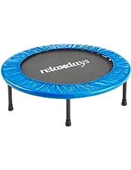 Relaxdays Fitness Trampolin, Durchmesser, Indoortrampolin, belastbar bis 100 kg, Fitness und Ausdauertraining, blau