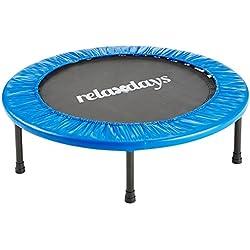 Relaxdays Trampoline pour usage intérieur & extérieur Sport fitness Entraînement charge maximale 100 kg 91 cm de diamètre, bleu