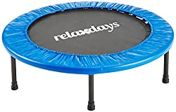 Relaxdays fitness trampoline, 91 cm diameter, indoor trampoline, load capacity up to 100 kg, fitness and endurance training, blue