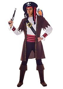 FIORI PAOLO 27523-Pirata Jack disfraz adulto, talla única, Marrón/Blanco/Negro/Rojo