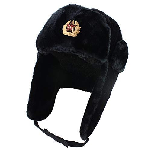 JJHR Mütze Armee Militär Abzeichen Ushanka Bomber Hüte Pilot Trapper Trooper Hut Winter Earflap Männer Schneekappen
