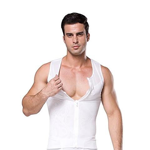 ZEROBODYS Männer Net Zipper Bauch-Körper-Former abnehmend Hemd Elastic Sculpting Weste-Träger Shaping Weste SS-M09 (S, weiß)