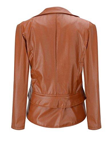 Ghope Damen Kunstleder Jacke Motorradjacke Ladies Oberbekleidung Lederjacke Outwear Braun