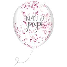 Club Green J025PK Ready To Pop Pink Confetti Filled Balloons (5 pack)
