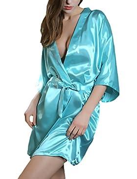 Saoye Fashion Kimono Donna Vestaglia Accappatoio Corto Estivo Elegante Ragazze Giovane V Scollo Puro Colore Pigiami...