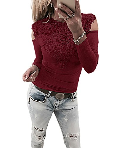Boutiquefeel Damen Lace Splicing Langarm Schulterfreie Patchwork T-Shirt Tunic Bluse Oberteile Wein Rot L