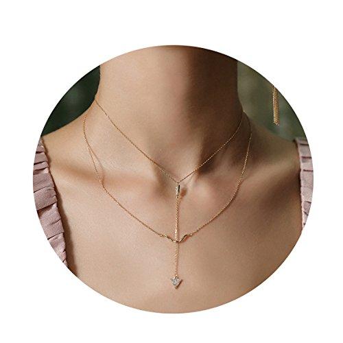 Mevecco Damen-Halskette mit Anhänger Haifischzähne vergoldet 18 Karat (750) Gold überzogen zierliche Kreuze Perlen Gold Choker Bogen & Pfeil Scheibe Schichtschicht Lange Halskette für Frauen
