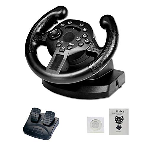 Ridecyle Racing Wheel, Computer Game Steering Wheel con Responsive Pedali Simulazione Racing Driving Giocattolo per PC/PS3/PS4/xbox-one, Nero,