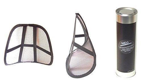 2er Set Rückenstütze Rückenschoner für Bürostuhl + Auto, ergonomisch + Aktion beschriftbare Metalldose für alle Geschenkideen Höhe ca. 31 cm