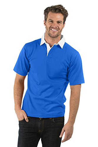 Bruntwood Aufgeld Kurzarm Rugby Hemd - Premium Short Sleeve Rugby Shirt - Herren & Damen - 280GSM - Baumwolle/Polyester (Königsblau, L) -