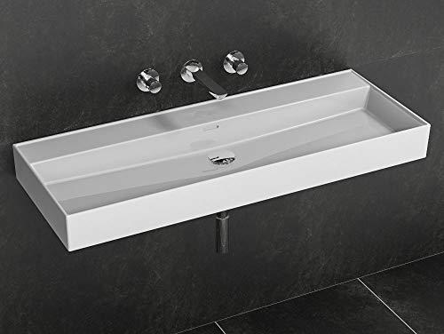 Aqua Bagno | Waschbecken 120 im modernen Loft Air Design | Eckig | Ohne Hahnloch | Wand-Waschbecken | Waschtisch aus Keramik | Weiß | 1212 x 465 x 120 mm