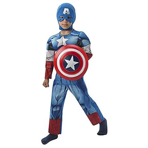 Costume Captain America super-héros déguisement Deluxe pour enfant L 8-10 ans 128-140 cm Tenue pour garçon héros de BD Marvel Avengers déguisement de vengeurs Amérique costume de demi-dieu déguisement de carnaval pour enfant