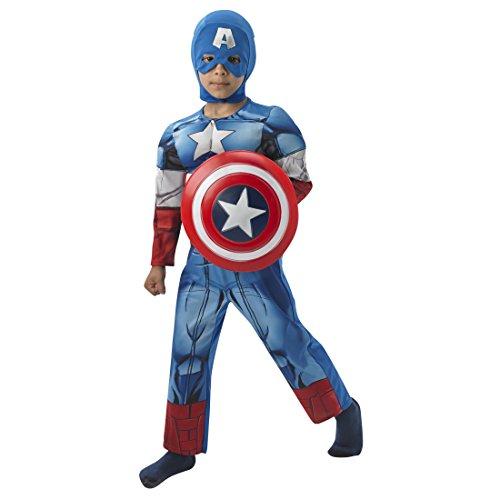 Superhelden Kinderkostüm Deluxe Marvel Avengers Superheldenkostüm M 5-6 Jahre 116-128 cm Comic Helden Jungenkostüm Captain America Kostüm Karneval Kostüme Kinder Superheld Faschingskostüm Lizenz Amerika (Captain Kostüme America Deluxe)