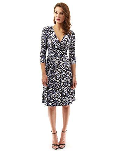 PattyBoutik Damen geometrisches Faux wrap Sonnenkleid mit V-Ausschnitt (violett-blau, schwarz und weiß 24 L 42/44) Langen Ärmeln Kleid