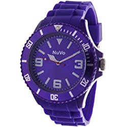 Nuvo - NU13H05 - Unisex Armbanduhr - Quartz - Analog - Violettfarbenes Zifferblatt - Violettfarbenes Armband aus Silikon - Modisch - Elegant - Stylish