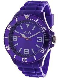 NuVo - NU13H05 - Montre Mixte tendance - Quartz Analogique - Cadran Violet - Bracelet Silicone violet
