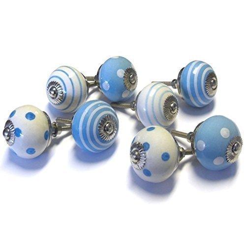 Pushka Home 8er Set Retro Blau Weiß Bemalt Keramik Knaufe 8er Pack X 40mm Vintage Style Flecken und Candy Streifen Griffe Mischung Anzüge Türen bis 27mm. mit Silber Befestigungen. für Dekoration Möbel -