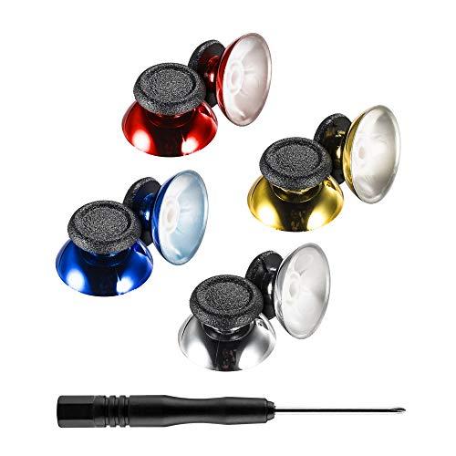 Función del producto: Durable y robusto. Base cromada, personaliza su mando del PS4. Hay 4 colores (oro / plata / azul / rojo, 1 par para cada color) para satisfacer una variedad de necesidades. Alta compatibilidad: perfecto para los controladores PS...