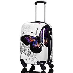 Cabin Suitcase 50 cm - Coque dure ABS Super Léger Avec Film de Protection Amovible - Bagage à Main Avec 4 Roues - Approuvé Pour les Compagnies Aériennes Comme Ryanair - Easyjet - Fantasy Papillon