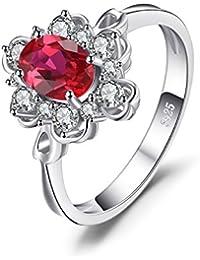 JewelryPalace Elegante 1ct Oval Creado Rubí Rojo Compromiso Aniversario Promesa Anillo 925 Plata De Ley