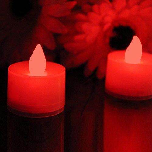 12 Lumini Rosse a Batteria - Candele Romantiche a LED per Camera di Letto, Nozze con Batterie di Ricambio di PK Green