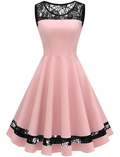 GardenWed Damen 1950er Elegant Spitzenkleid Ärmellos Cocktailkleid Knielang Rockabilly Kleid...