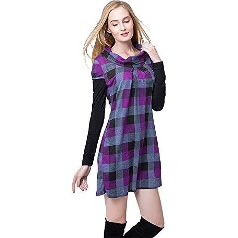 Moda Plaid Cuadros Guinga Paracalle Babydoll Pullover Sweater Túnica Top Verano Vestido