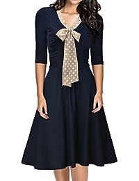 Miusol Damen V-Ausschnitt Schleife Cocktailkleid Faltenrock 50er 60er Jahr Party Stretch Kleid Blau EU 36-48