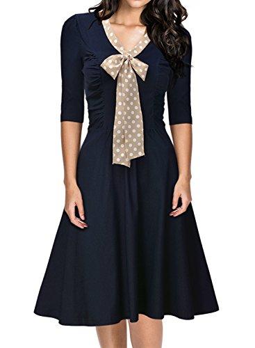 Verpackung Aller Kostüm Art - MIUSOL Damen V-Ausschnitt Schleife Cocktailkleid Faltenrock 50er 60er Jahr Party StretchKleid Blau S