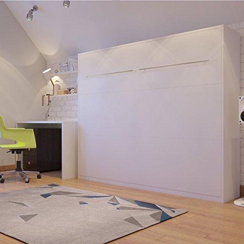 Schrankbett 140×200 weiss, ideal als Gästebett – Wandbett, Schrank mit integriertem Klappbett, SMARTBett - 2