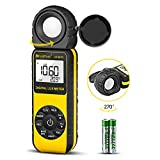 HoldPeak 881D Handheld Digital Light Meter,Range Up to 0.01-400,000 Lux (1-40,000 FC) 270° Rotate Sensor Head,Data Hold&Storage,Lux Meter for Plants/LED Lightslight/Digital Photography