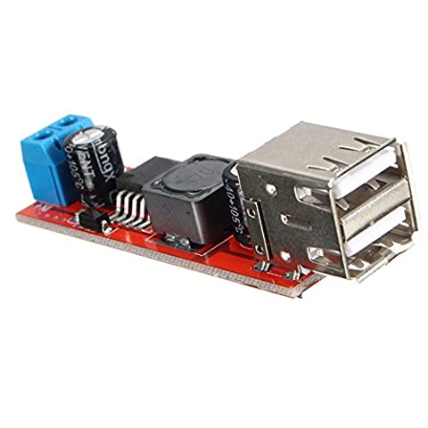 ZkeeShop Dual USB Output DC-DC 12V/24V to 5V 3A Step Down Power Module Converter 6V-40V 150KHZ Electric Modules Board