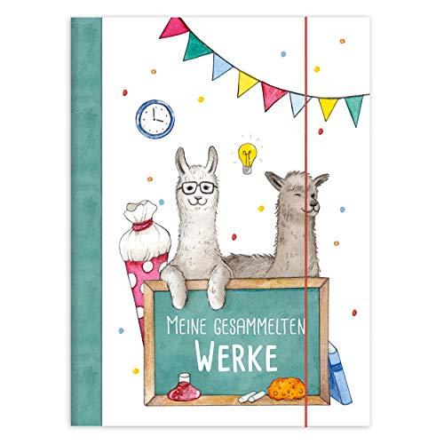 Sammelmappe mit Alpaka für Kinder A4, Ordnungsmappe für Schule oder Kindergarten zum Aufbewahren von Zeichnungen, Arbeitsblättern und Heften