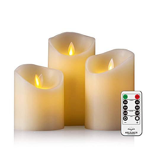 Air Zuker LED Kerzen mit beweglicher Flamme - Echt Flammen Effekt LED Echtwachskerzen mit 10 Key Fernbedienung und Timer [Klassische Stumpenkerze, Elfenbeinfarbe] - 3er Pack - Alle Natürlichen Zucker