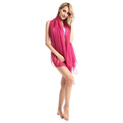 SAIVONA - Großes 170cm x 150cm Premium Sarong Strandtuch Wickelkleid Tuch Schal Handtuch Beach - Pink Fuchsia